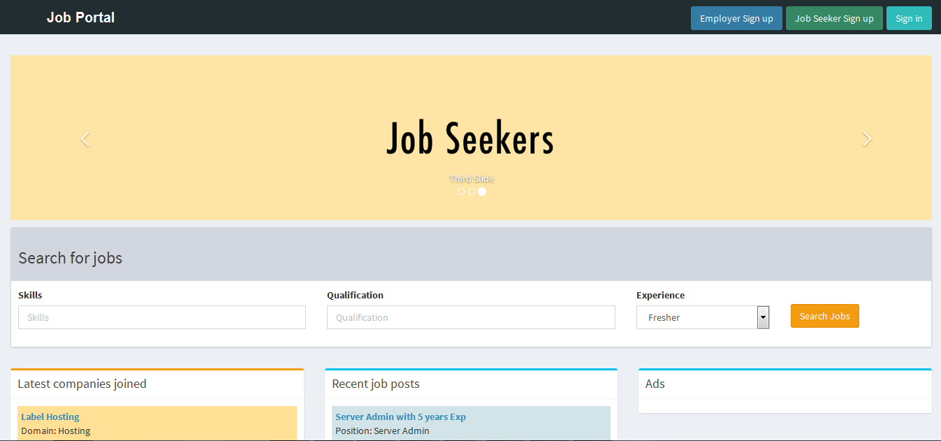job portal webservice application